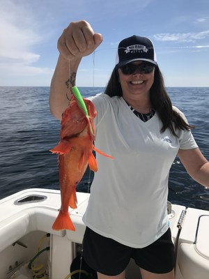 The WHOW 2021 Tournament included two all-female veteran teams, including Samantha Simonds, aboard the Surly Mermaid, pictured here with a rockfish.