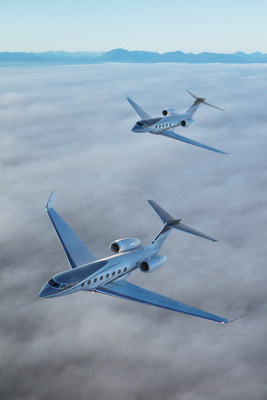The new Gulfstream G800 in foreground, with the new Gulfstream G400. (photo illustration)