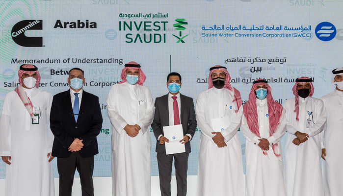"""Memorandum of Understanding between """"SWCC"""" and """"Cummins Arabia"""" for hydrogen production: To meet the challenges of climate change with alternative energy."""