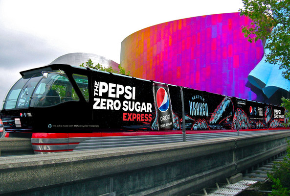 To celebrate the new partnership between PepsiCo Beverages North America (PBNA) and Seattle Kraken, as well as their commitment to sustainability, a monorail train on the Seattle Center Monorail will be wrapped as the Pepsi Zero Sugar Express with epic unapologetic fan giveaway moments.